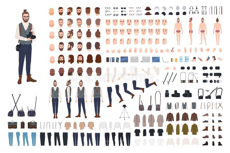 Photographer constructor set or DIY kit. Collection of male cartoon character body parts, facial expressions, clothes stock illustration