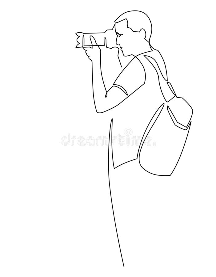 Photographer continuous one line illustration. Man shooting with photo camera line art drawing royalty free illustration