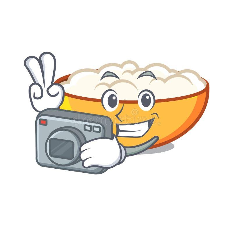 Photographer cottage cheese mascot cartoon. Vector illustration stock illustration