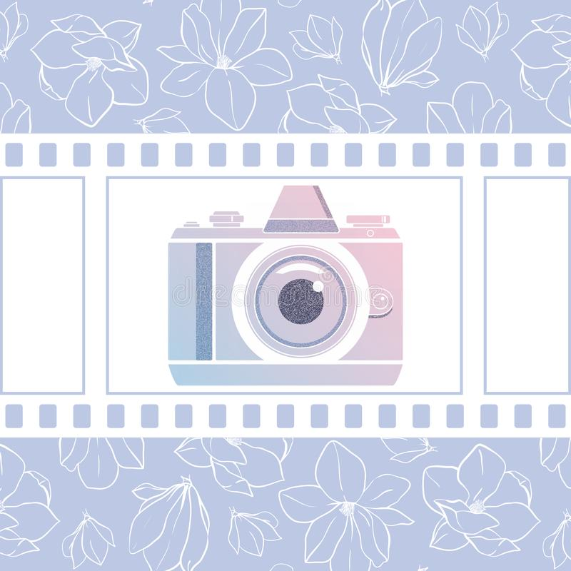Photographer design element for logotype, label, badge and other. Magnolia flowers,retro photocamera and film in trendy colors. Ve stock illustration