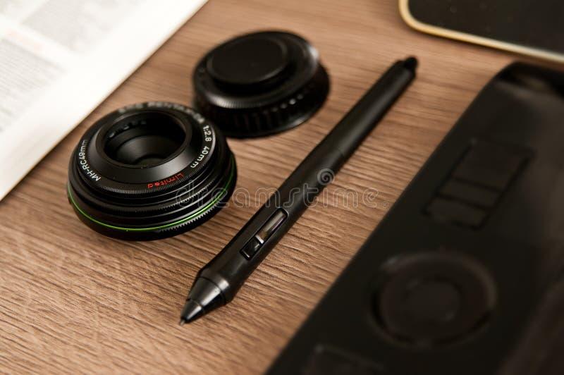 Photographer designer desk composition royalty free stock image