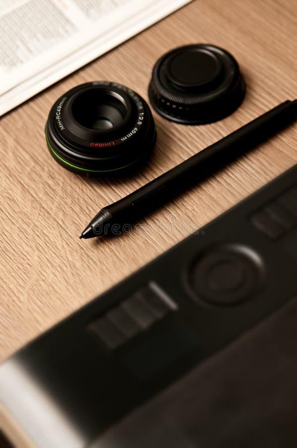 Photographer designer desk composition royalty free stock photography