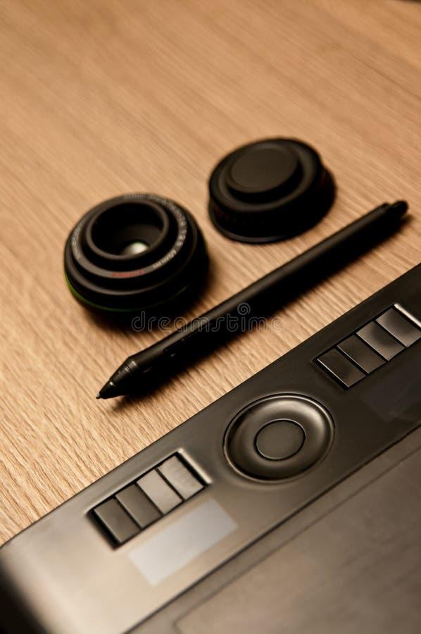 Photographer designer desk composition stock image