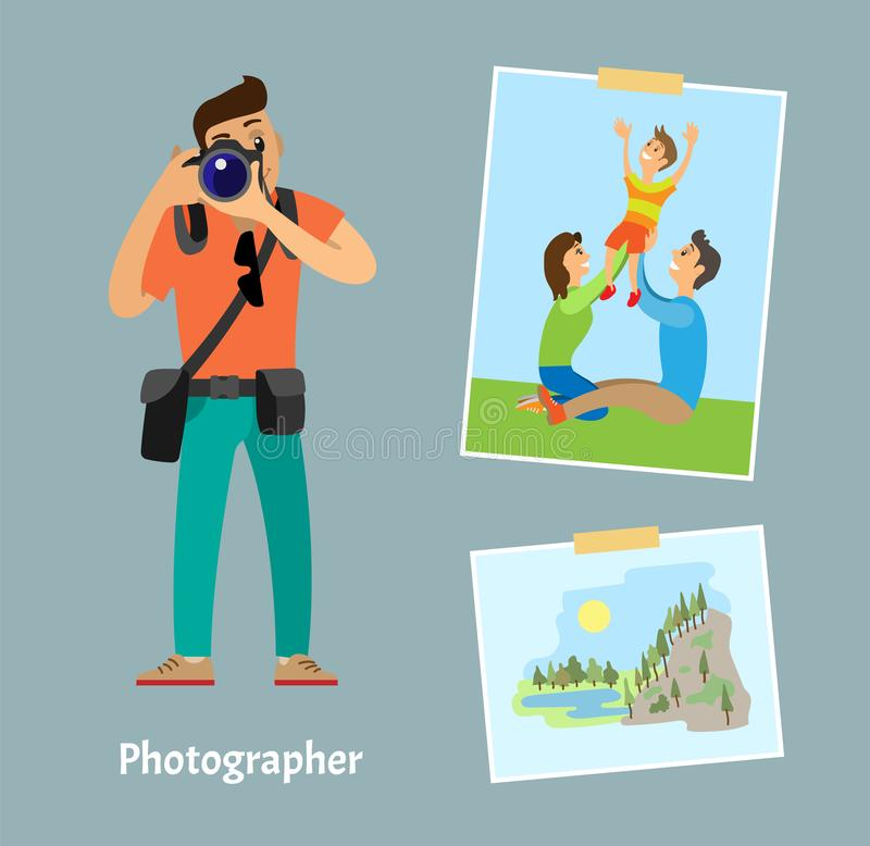 Photographer with Digital Camera and Photo Shots. Photographer with digital camera and photographs sticked on tape. Family on grass lawn and mountain landscape royalty free illustration