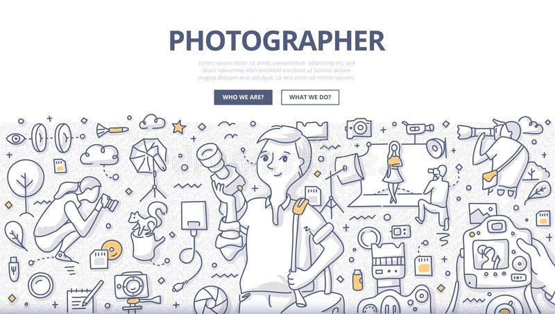 Photographer Doodle Concept stock illustration