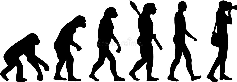 Photographer Evolution vector royalty free illustration