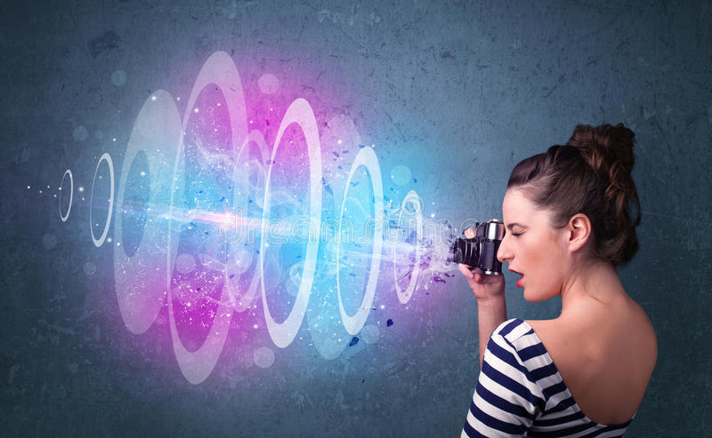 Download Photographer Girl Making Photos With Powerful Light Beam Stock Photo - Image: 34796704