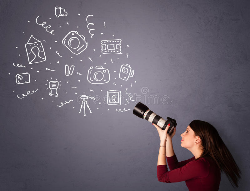 Download Photographer Girl Shooting Photography Icons Stock Image - Image: 33806999