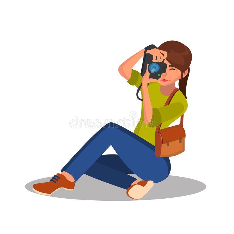 Photographer Girl Vector. Photographic Camera. Reporter, Journalist, Blogger, Paparazzi. Cartoon Character Illustration stock illustration