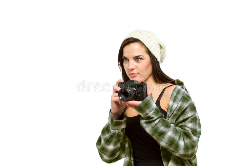 Photographer in green flannel readies for a photo royalty free stock images