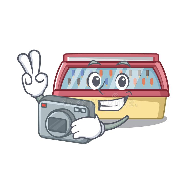Photographer ice cream freezer in character shape. Vector illustration royalty free illustration