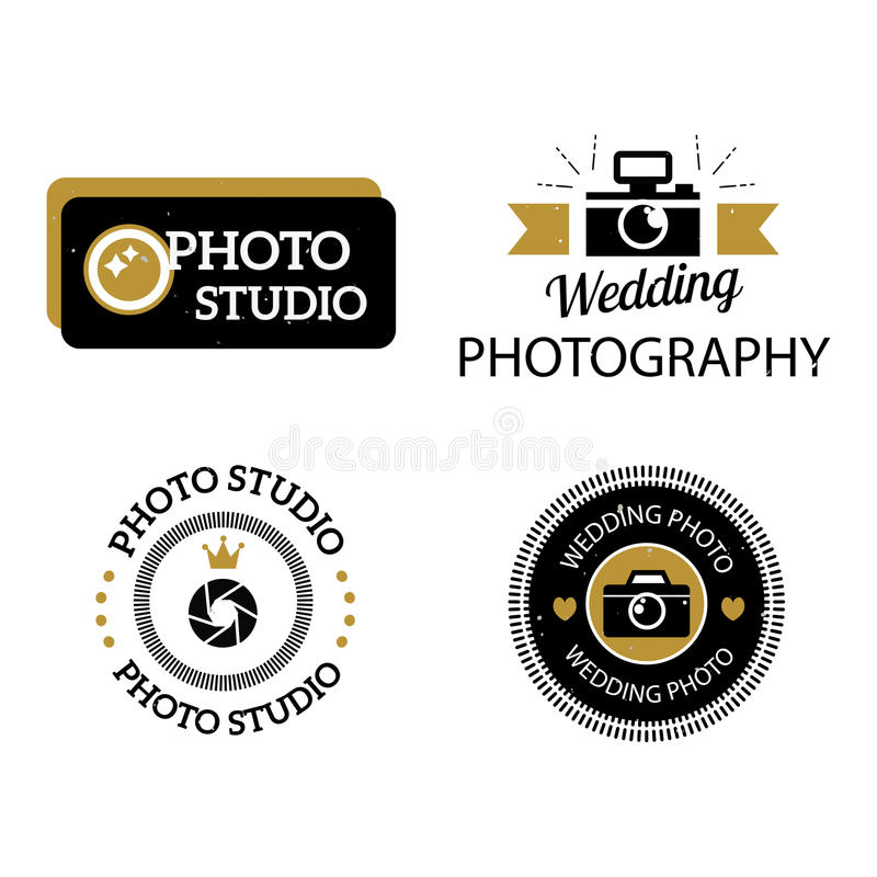 Photographer icons vector set. Set of photography and photo studio logo black colour. Vector esign elements, business signs, identity, labels, badges. Other vector illustration