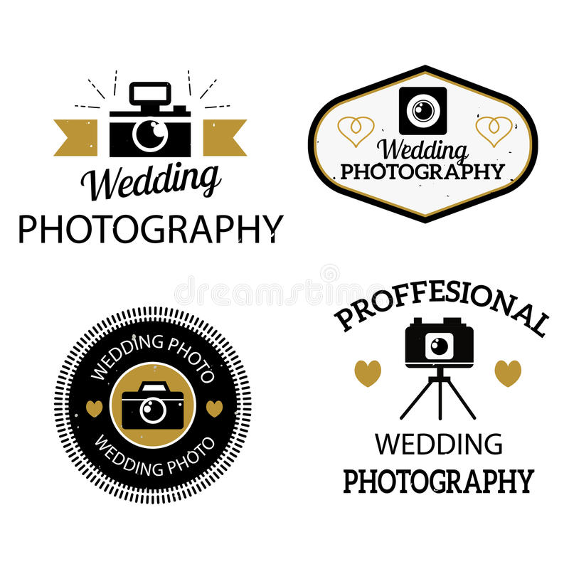 Photographer icons vector set. Set of photography and photo studio logo black colour. Vector esign elements, business signs, identity, labels, badges. Other stock illustration