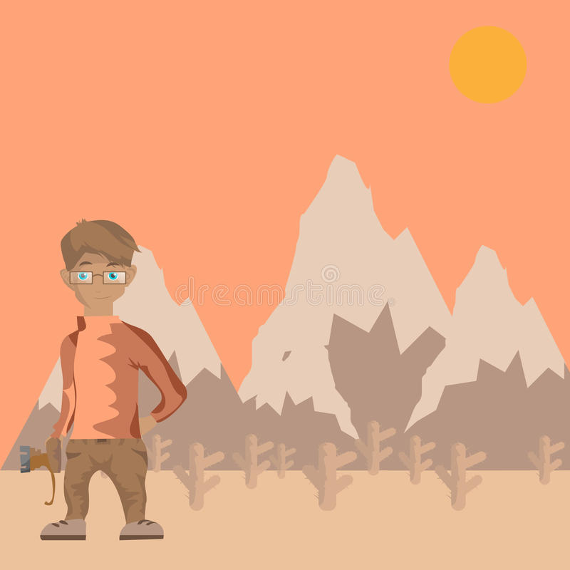 Photographer illustration and nice mountain background royalty free stock photos