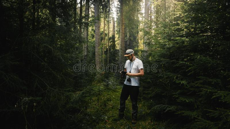 Photographer looking at camera in dark green forest. Light coming from behind. Photographer looking at camera in dark green forest. Light coming on the trail stock image