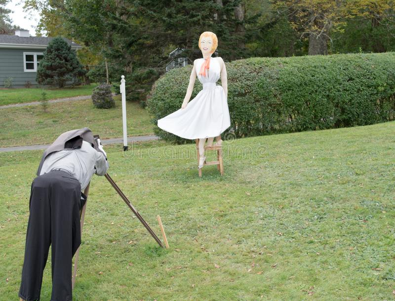 A Photographer in Mahone Bay, NS taking a picture of Marilyn! stock photos