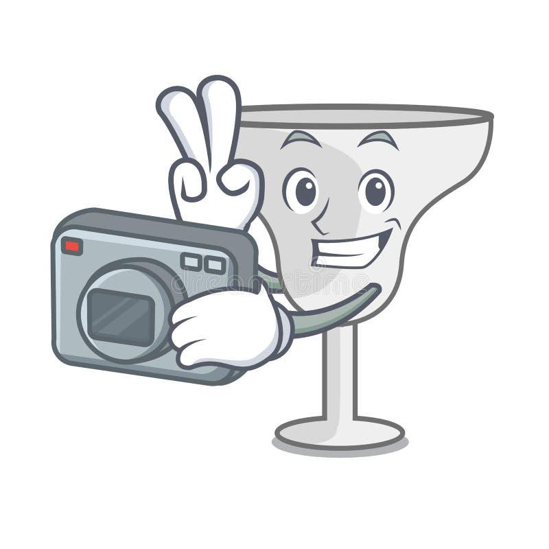 Photographer margarita glass mascot cartoon. Vector illustration stock illustration