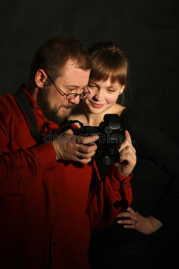 Photographer with model stock image