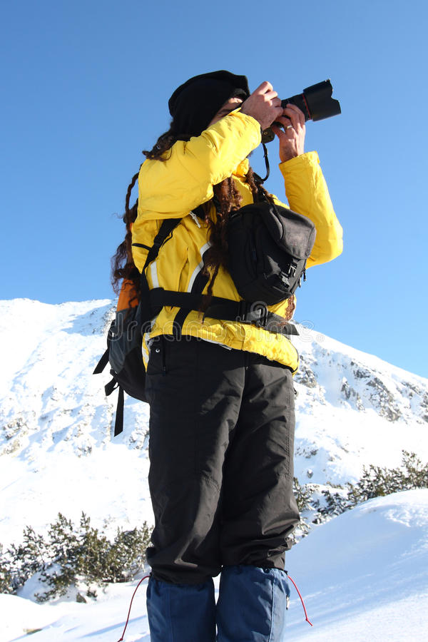 Photographer in the mountain stock photos