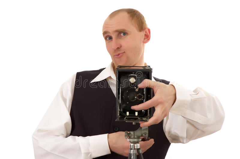 Photographer and old camera royalty free stock images