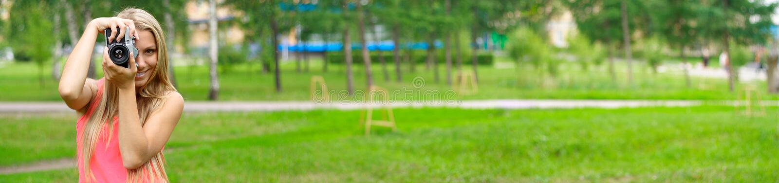 Photographer in park stock images