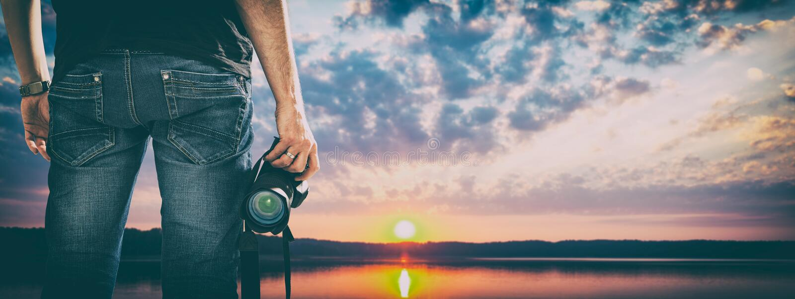 Photographer photographic camera dslr photo person passion outdo. Or photographing travel make photography sunset sky background space banner concept - stock stock photography