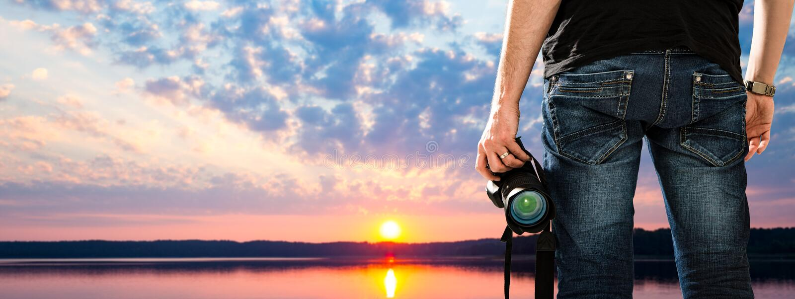 Photographer photographic camera dslr photo person passion outdo. Or photographing travel make photography sunset sky background space banner concept - stock stock photos