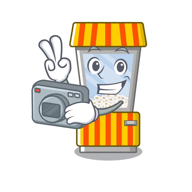 Photographer popcorn vending machine is formed cartoon. Illustration vector vector illustration