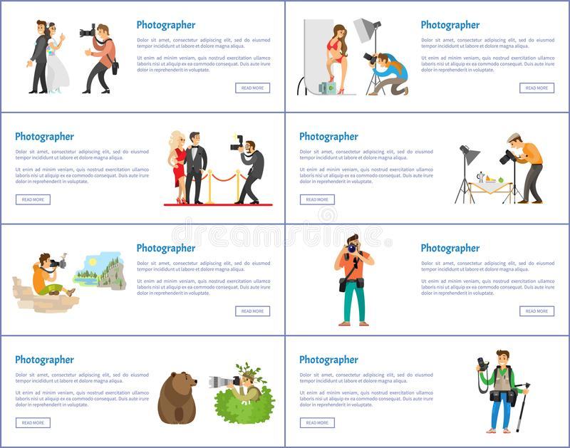 Photographer Profession and Hobby Web Banners Set vector illustration