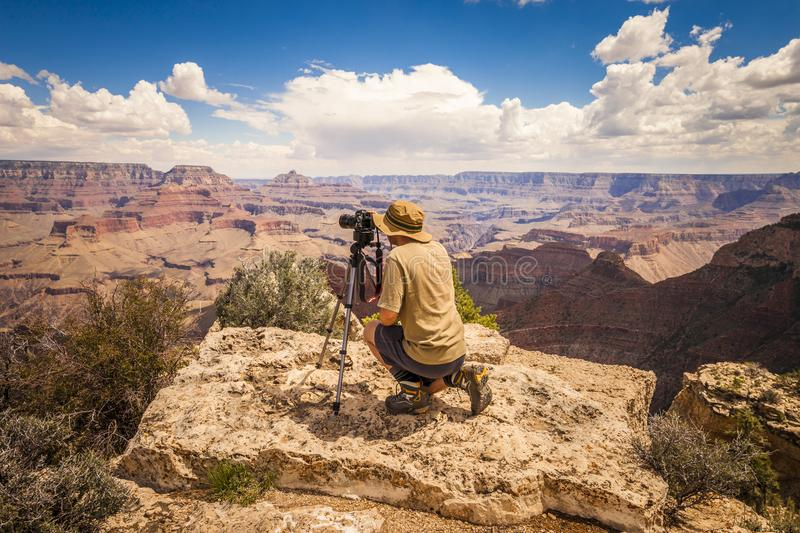 Photographer in Grand Canyon, Arizona royalty free stock photos