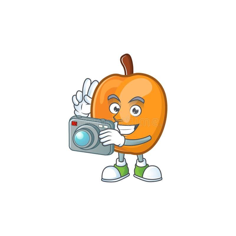 Photographer ripe apricot character mascot of cartoon. Vector illustration stock illustration