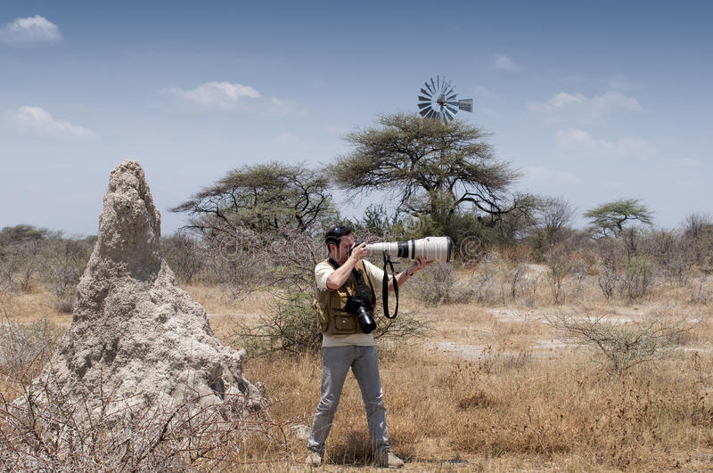 Photographer in the savannah - profile. A photographer is taking pictures with a telephoto lens in the savannah next to an anthill stock photos