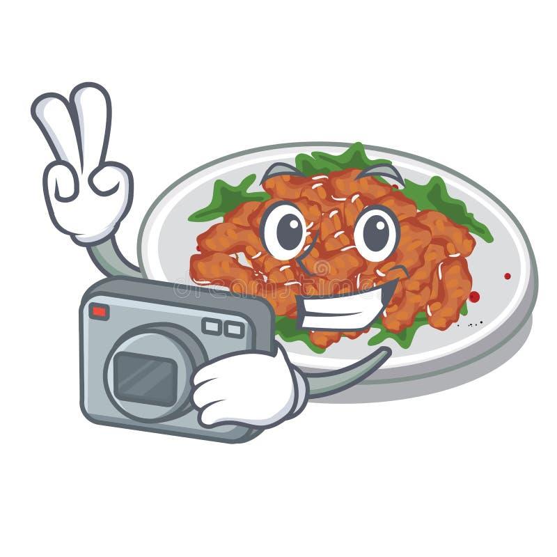Photographer sesame chicken in a cartoon bowl. Vector illustration vector illustration