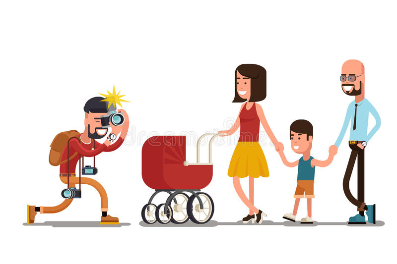 Photographer shooting happy family royalty free illustration