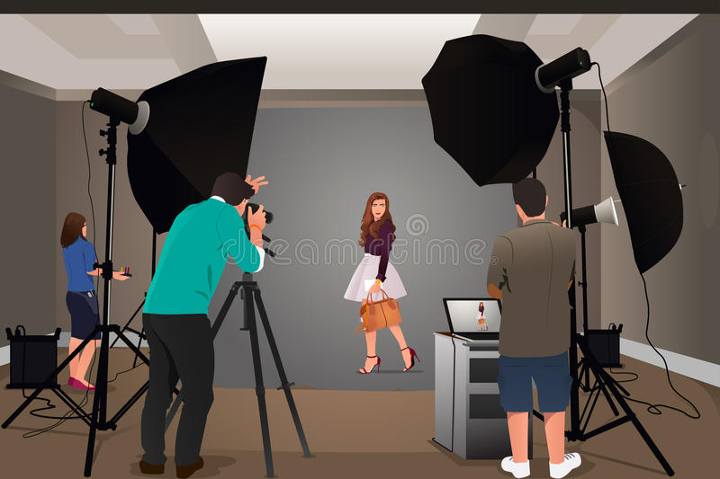 Photographer Shooting Model royalty free illustration