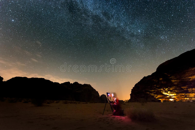 Photographer shooting stars. stock images
