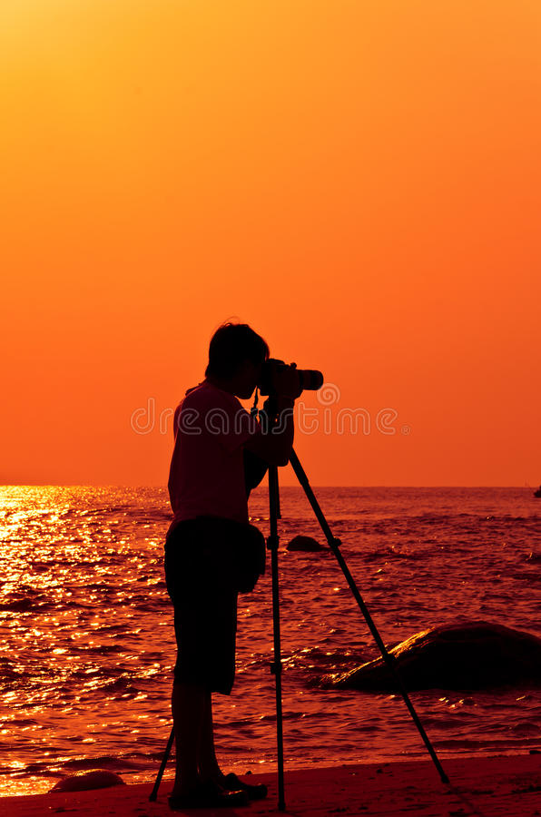 Photographer With Sillouette In Hua Hin Beach Stock Photo