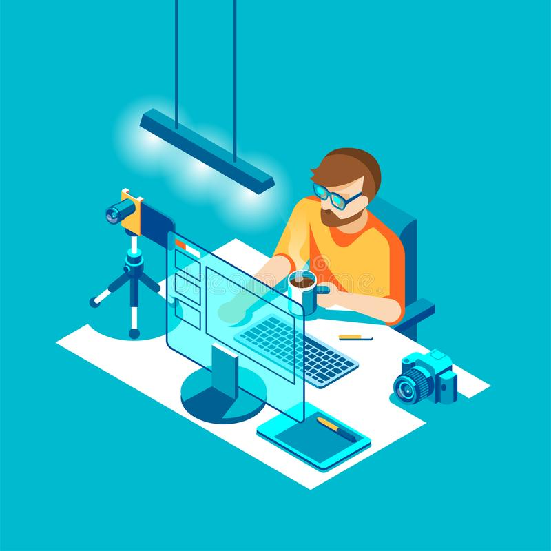Photographer sitting and working. Character, camera, computer, table and various devices. Vector isometric illustration. vector illustration