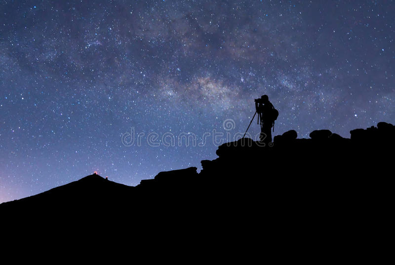 Photographer, stars and Milky Way stock image