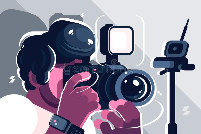 Photographer on studio fashion stock illustration