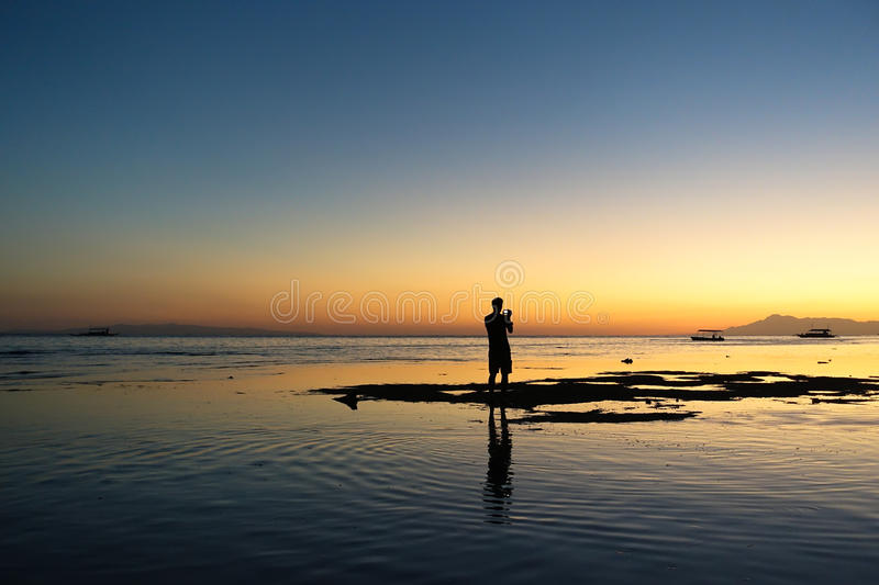 Photographer sunset silhouette stock photography