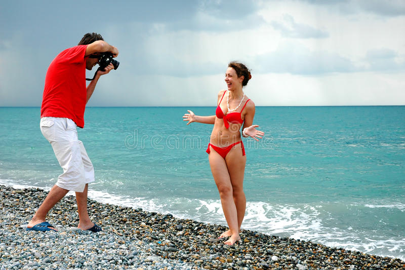 The photographer take pictures a girl royalty free stock images