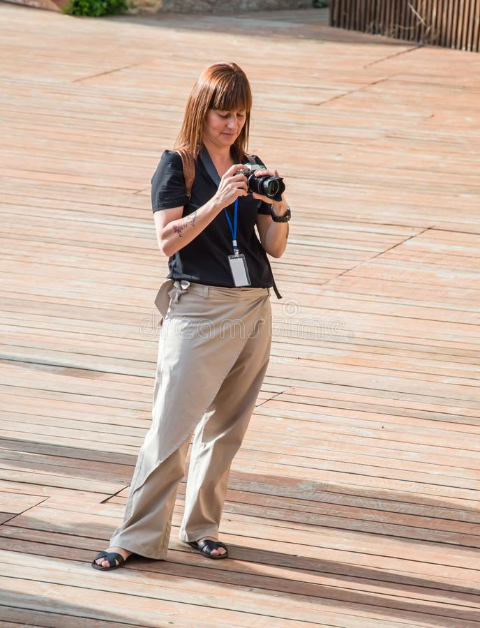Photographer takes pictures. Open-air theater called the Green Theater royalty free stock photos
