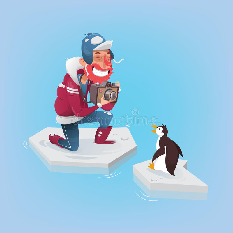 Photographer taking a picture of a penguin stock illustration