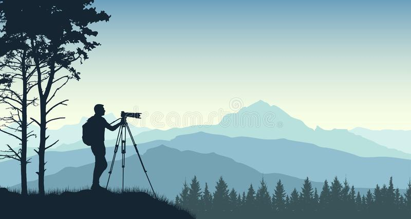 Photographer from a tripod photographs the landscape of nature. Forest trees mountains. Silhouette vector illustration.  vector illustration