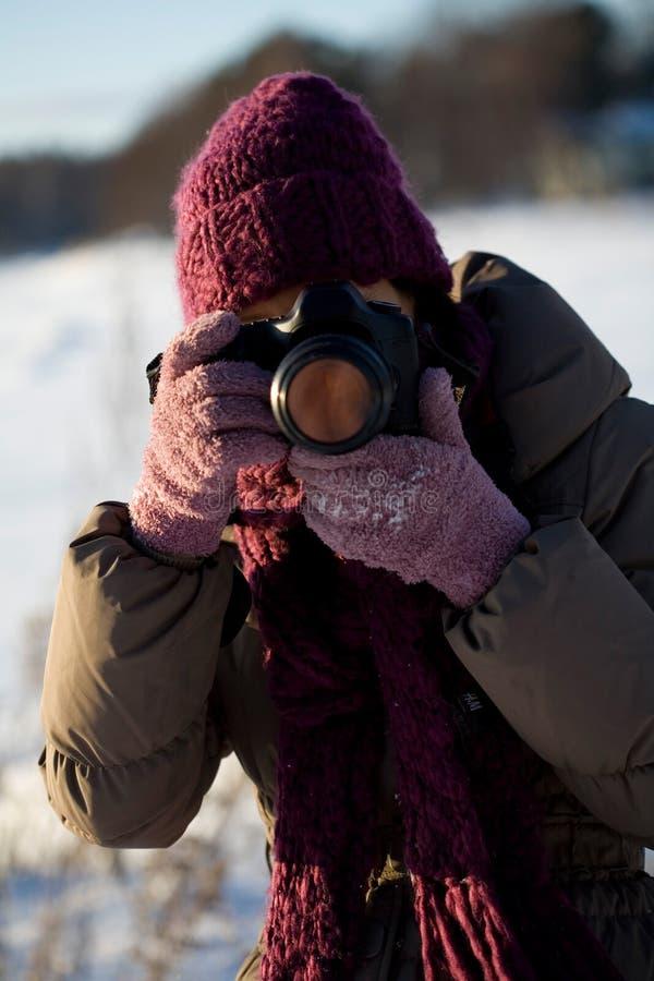 Photographer in winter stock photo