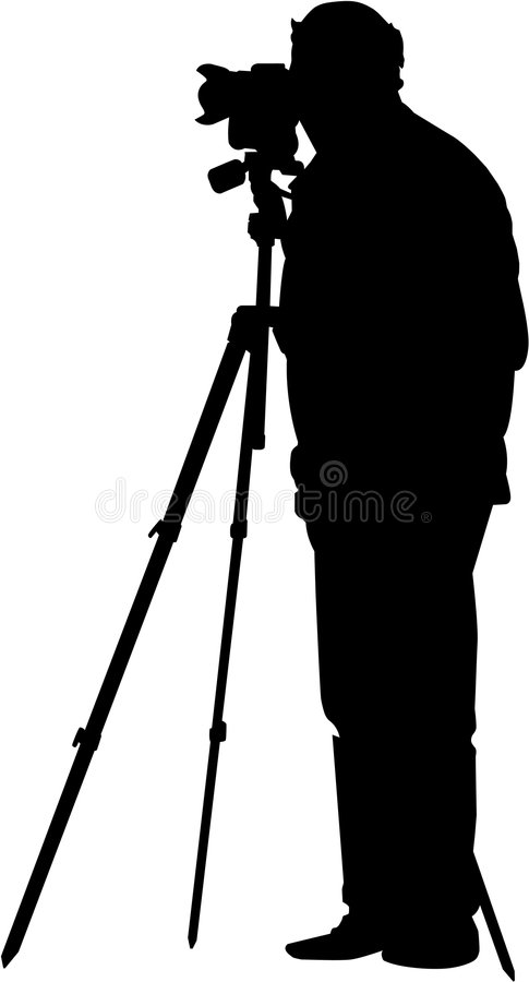 Photographer at work. Vector image of photographer at work on white background stock illustration