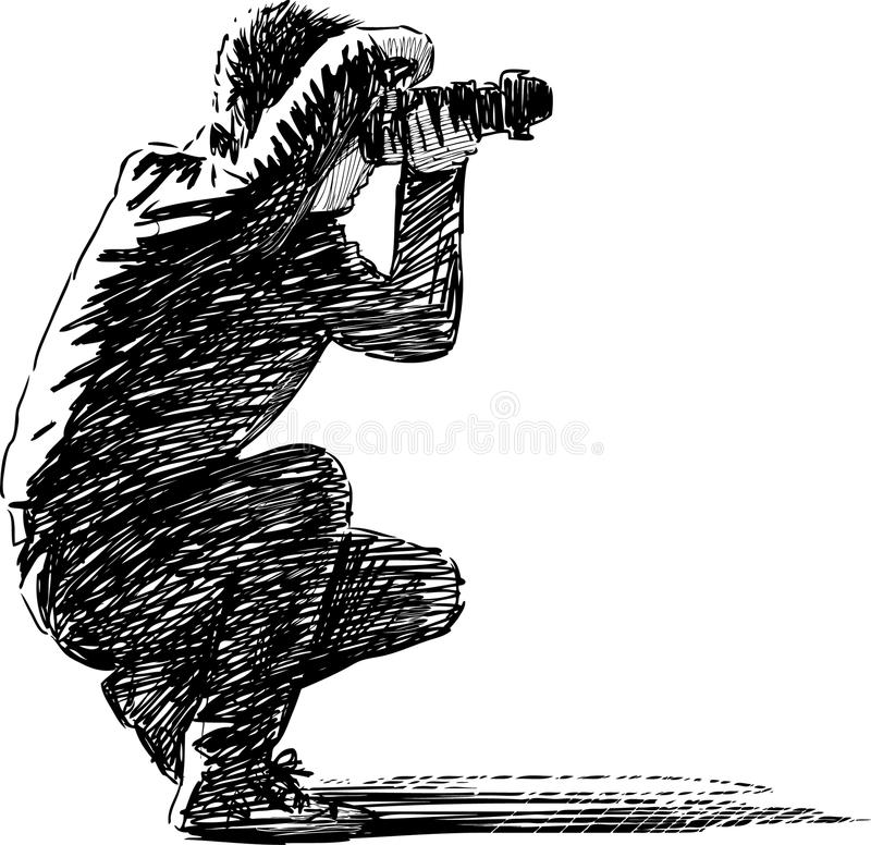 Photographer at work. Vector drawing of a photographer making photos stock illustration