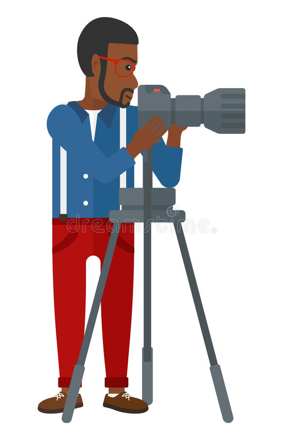 Photographer working with camera royalty free illustration
