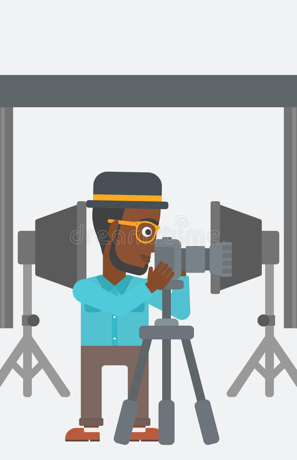 Photographer working with camera on a tripod. stock illustration